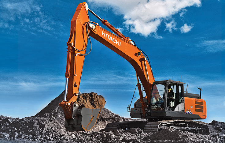ZX300LC-6 Construction Excavator digging dirt with operator in cab