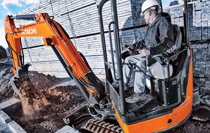 Hitachi ZX35U-5 Compact Excavator with operator in cab