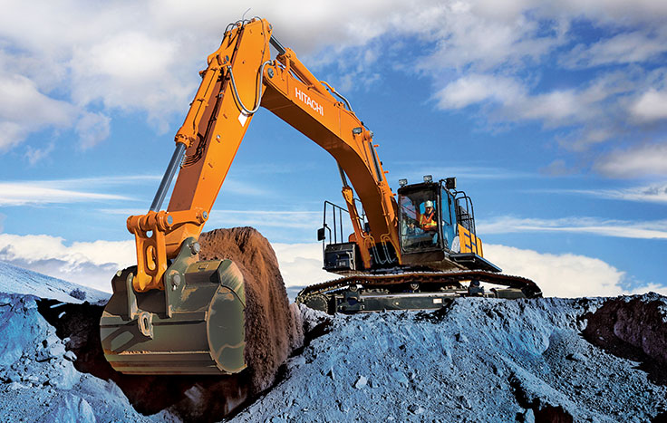 ZX470LC-6 Excavator with shoveling dirt with operator in cab