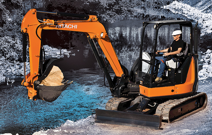 Hitachi ZX50U-5 Compact Excavator with operator in cab