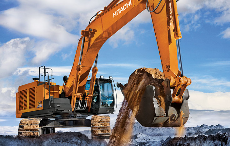 ZX670LC-6 Excavator with shovel full of dirt
