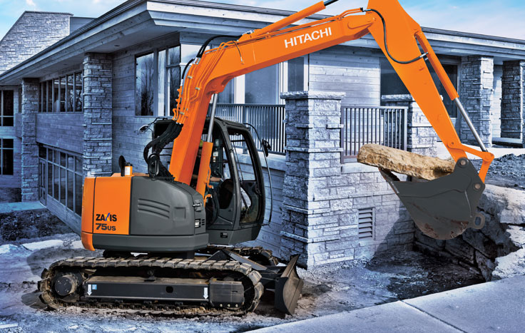 Don't be fooled by the small size of the ZX75US-5. This ultrashort radius excavator is perfect for light residential work and projects in congested areas.
