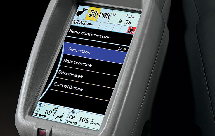 Multi-language LCD monitor and rotary dial provide intuitive access to machine info and functions.