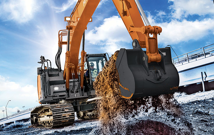 The ZX245USLC-6 is the largest of Hitachi's reduced-tail-swing excavators