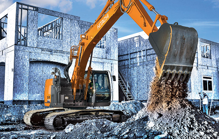 ZX245USLC-6 Excavator dumping dirt at construction site