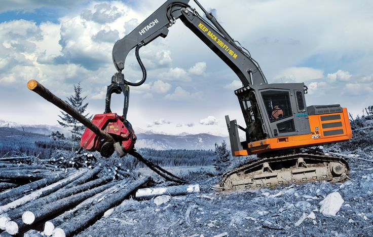 Hitachi ZX210F-6 Forester with forestry attachment
