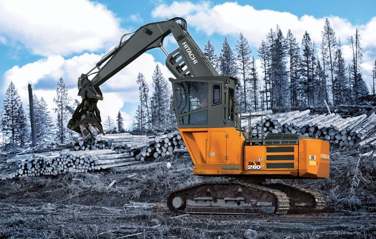 Hitachi ZX260F-6 Forester with log loader full of cut trees