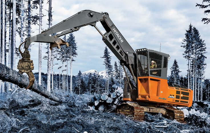 Available as a Forestry Excavator or Log Loader, the ZX370F-6 features a fuel-efficient Final Tier 4 (FT4)/EU Stage IV Isuzu engine.