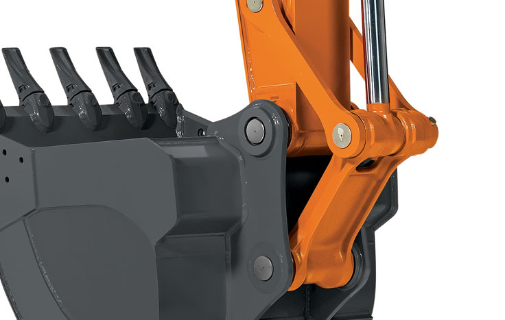 Tungsten-carbide coated wear surfaces protect the critical bucket-to-arm joint.