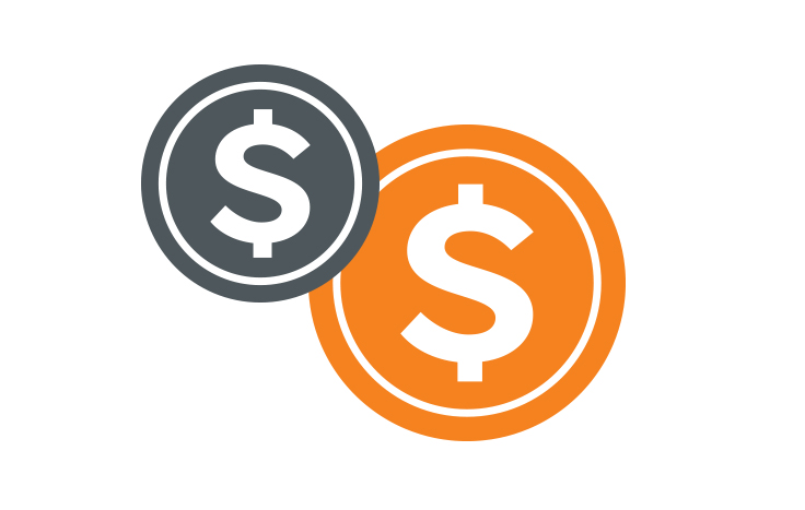 dollar signs in grey and orange circles