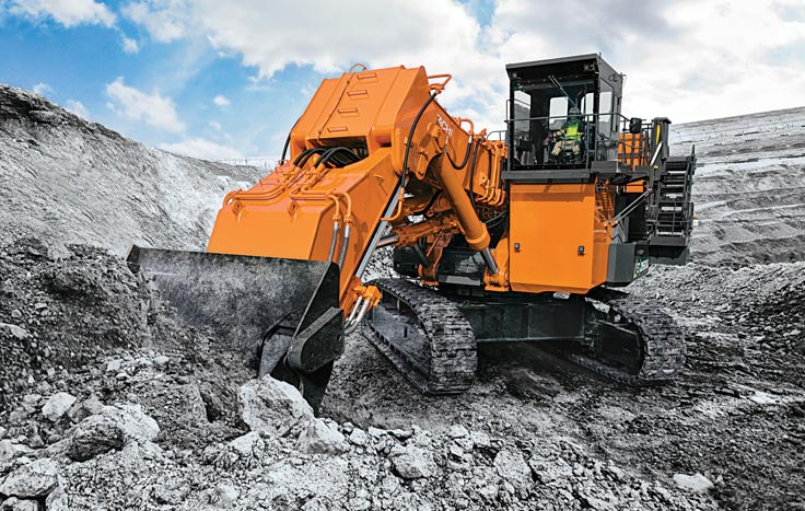 It's available in backhoe and front-shovel configuration, and you can choose between a Cummins or MTU engine.