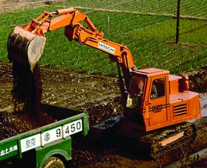 Hitachi's first hydraulic excavator was the UH03 in 1965.
