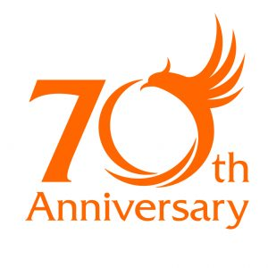 The 70th anniversary logo celebrates the start of full-scale production of Hitachi Construction Machinery Co. Ltd.