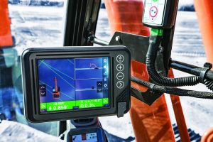 With Hitachi Solution Linkage Integrated Grade Control with Topcon, the machine controls the boom and bucket as the operator handles the arm.