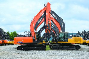 Hitachi and Deere excavators sit at Kernersville, North Carolina.